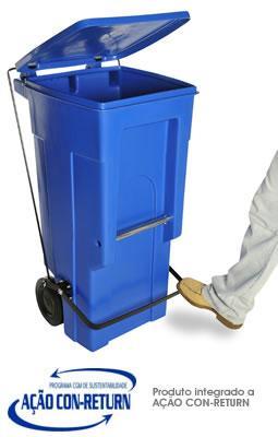 Carrinho de Carga Gari de Plastico (Polietileno PEAD) M120 litros com Pedal